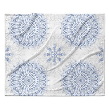 "Julia Grifol ""Mandalas In Blue"" Vector Geometric Fleece Throw Blanket"