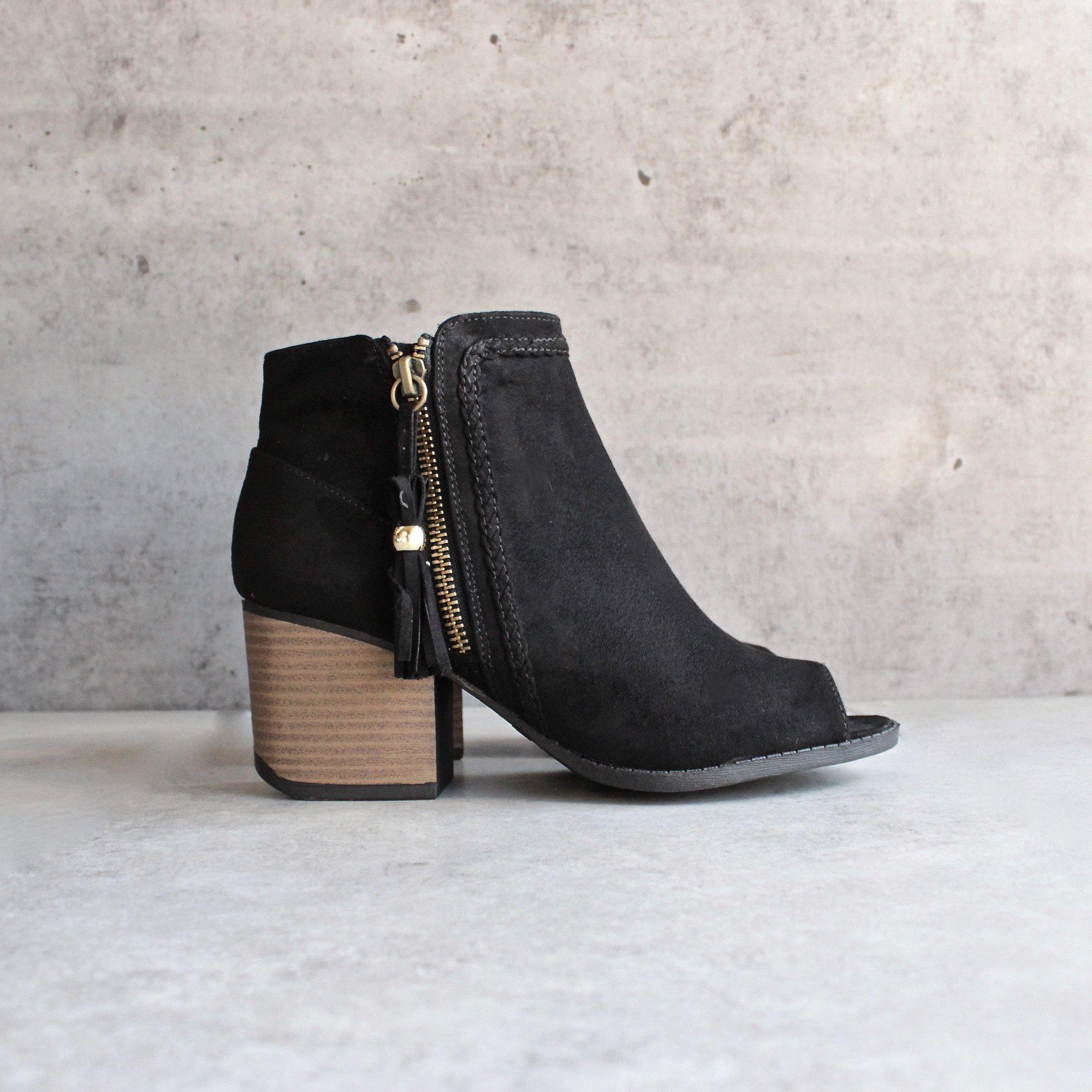 b77f06483fc2 final sale - vegan suede tassel block heeled ankle boots - black