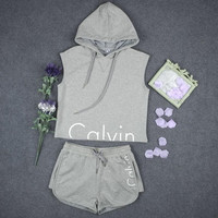 """Calvin Klein"" Hoodie Sleeveless Two-Piece Shorts"