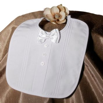 Tuxedo Style Bib Pin Tucked Handmade Gabardine with a Satin Bow Tie (Infant Boys)