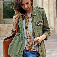 Army Green  Lapel Collar Single Breasted Long Sleeves Coat