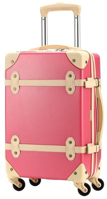 d371dcb5623 Ambassador Luggage Antique Fashion Polycarbonate Spinner Suitcase 25 Inch  Medium Trip Pink