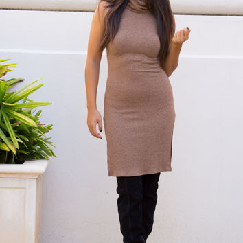 Ania Ribbed Turtleneck Dress - Tan