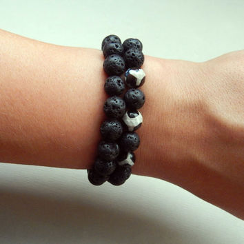 Men's lava and agate stone stretch bracelet set Men's bracelet set Lava stone stretch bracelet Agate stone bracelet men