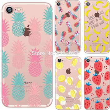 ciciber Summer fruit Pineapple watermelon banana lemon strawberry Clear case soft silicon cover For iphone 7 6 6S 8 plus 5S SE X