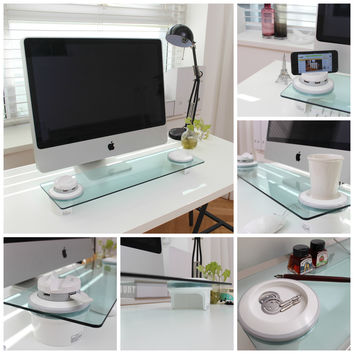 i-Bridge Multi-Function Desk Organizer, Monitor Stand, Tempered Glass, USB Hub