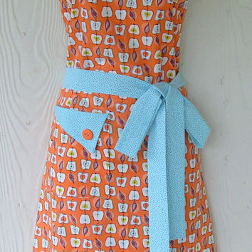 Apple Apron , Graphic Apple Motif , Orange and Aqua , Retro Style , Full Apron , KitschNStyle