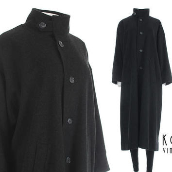 "Wool Cashmere Coat Eskandar Coat 90s Clothing Oversized Wool Coat Dark Gray Lagenlook Plus Size Vintage Clothing Women's Size - 2X+ 58"" Bust"