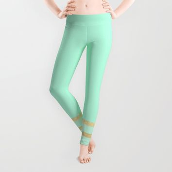 Mint and Gold stripes Leggings by Xiari | Society6