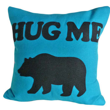 Pillow Talk Pillow Bear Hug Me Please by PillowThrowDecor on Etsy