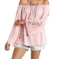 Embroidered Cuff Off-the-Shoulder Top by Charlotte Russe