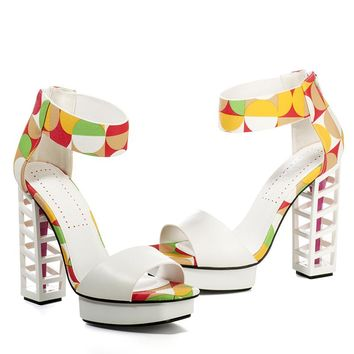 Multi-colored High Heel Sandals