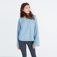 Convertible Cold-Shoulder Top in Indigo : shopmadewell more denim dressing   Madewell