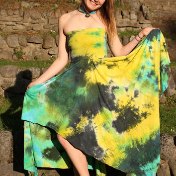 Organic dress convertible pixie skirt asymmetrical gypsy tie dye maternity clothing S, M, L