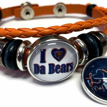 NFL I Love Chicago Bears Orange Leather Bracelet W/2 Football Logo Snap Jewelry Charms New Item