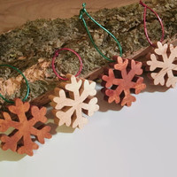 Set of four Wooden Snowflake Ornaments -  Ready to ship