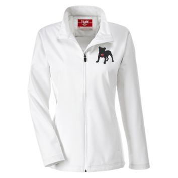 My Heart English Bulldog Embroidered Team 365 Ladies Soft Shell Jacket