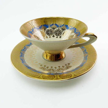 Vintage 1950s Atomic Gold & Blue Tea Cup and Saucer Set Winterling Bavaria Hand Painted Golden Accents on Fine Bone China MOD Space Age