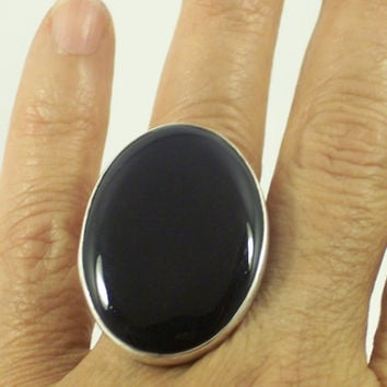 Oval Black Onyx Silver Ring, Handcrafted  Statement with large Gemstone, Cocktail, Fashion Jewelry