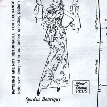 Retro 1970s Spadea Couture Sewing Pattern 71763 Boho Style Maxi Sheath Dress High Cowl Neck Sleeveless Slim Fit Uncut Bust 34