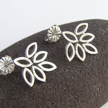 Small Lotus Earrings - Sterling Silver Post Earrings - Flower Earrings - Leaf  Earrings