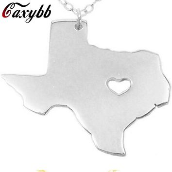 American Texas State Necklaces Lovely A Heart Stainless SteelChain Pendant Necklace For Men Women Jewelry Gifts