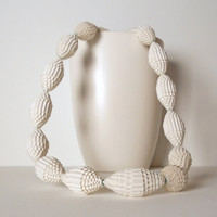Statement Necklace with snow white Paper Beads by PaperStatement