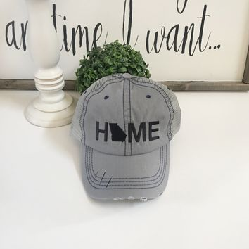 Georgia Home hat, Grey trucker hat | Georgia State Hat - Black Hat