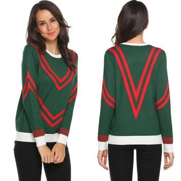 Long Sleeve O Neck Jacquard Weave Contrast Color Thickening Sweaters