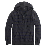 J.Crew Mens Cotton-Cashmere Hoodie In Charcoal Stripe