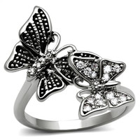 Stainless Steel Double Butterfly Engagement / Promise Ring