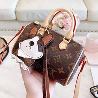 LV fashionable lady dog accessories printed matching color cross pillow bag