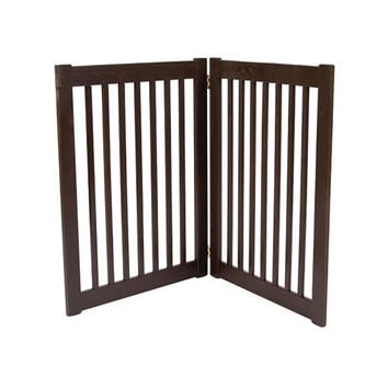Dynamic Accents Two Panel Large Indoor Wooden EZ Pet Gate, 32 Inch Tall - Artisan Bronze