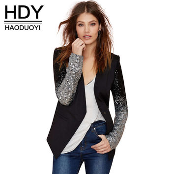 HDY Patchwork Black Silver Sequins Jackets Full Sleeve