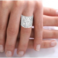 Personalized Monogrammed Ring (Order Any Name) Sterling Silver