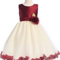 Sleeveless Flower Girl Petal Dress - Burgundy LT-H341