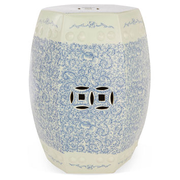 Twisted Lotus Garden Stool, Blue/White, Garden Stools