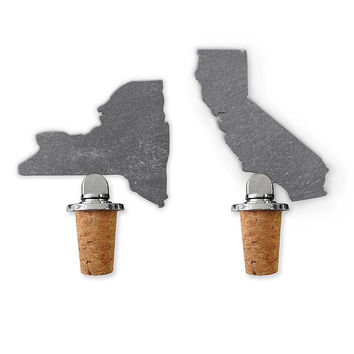 State Slate Bottle Stopper | state shaped slate