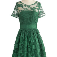 BB Dakota Mid-length A-line Adrift on a Cloud Dress in Emerald