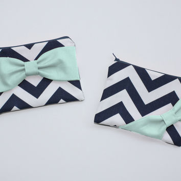Cosmetic Case / Zipper Pouch - Navy and White Chevron Mint Bow - Choice of Bow Style