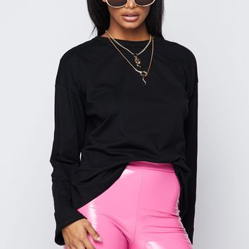 You're Basic Long Sleeved Crew Neck Oversized Top Black