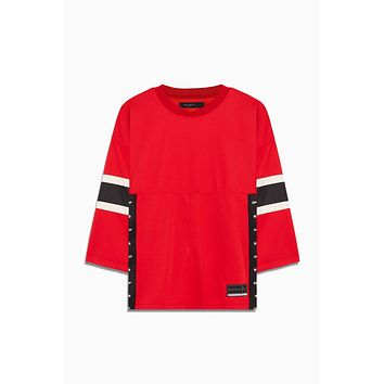 3/4 sleeve jersey / red + black + ivory