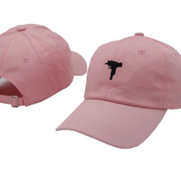 Pink UZI Gun Embroidered Adjustable Cotton Baseball Cap Hat