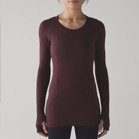 NWT Lululemon Athletica Run:Swiftly Tech LS Crew Deep Rouge Red size 8