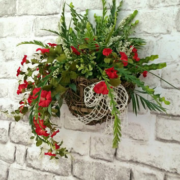 Floral Wall Basket, Front Door Decor, Red Silk Floral Arrangement, Wall Pocket, Summer Door Decor, Hanging Basket, Floral Grapevine Basket