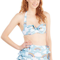 ModCloth 80s Halter Eyes on the Skies Swimsuit Top