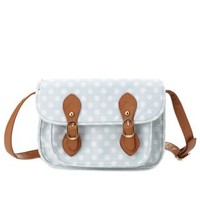 Polka Dot Canvas Mini Satchel by Charlotte Russe - Mint