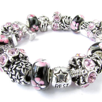 European charm bracelet with charms Best Friend Wine Cupcake Royal Crown Purse charms black white pink Murano beads gift for girlfriend