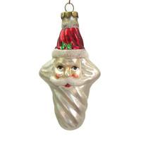 "Vintage Blown Glass Santa Ornament - 4"" long Santa Head Ornament - Cross Shaped Sugared Glitter Accents"