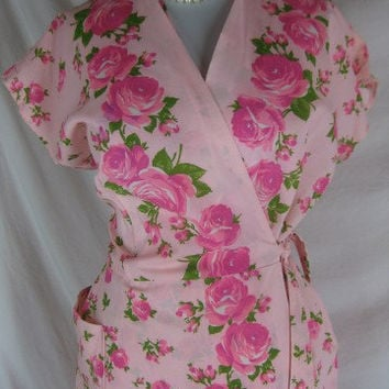 1940s 1950s PINK Garden Party Crisp Cotton Vintage Wrap Dress W 40